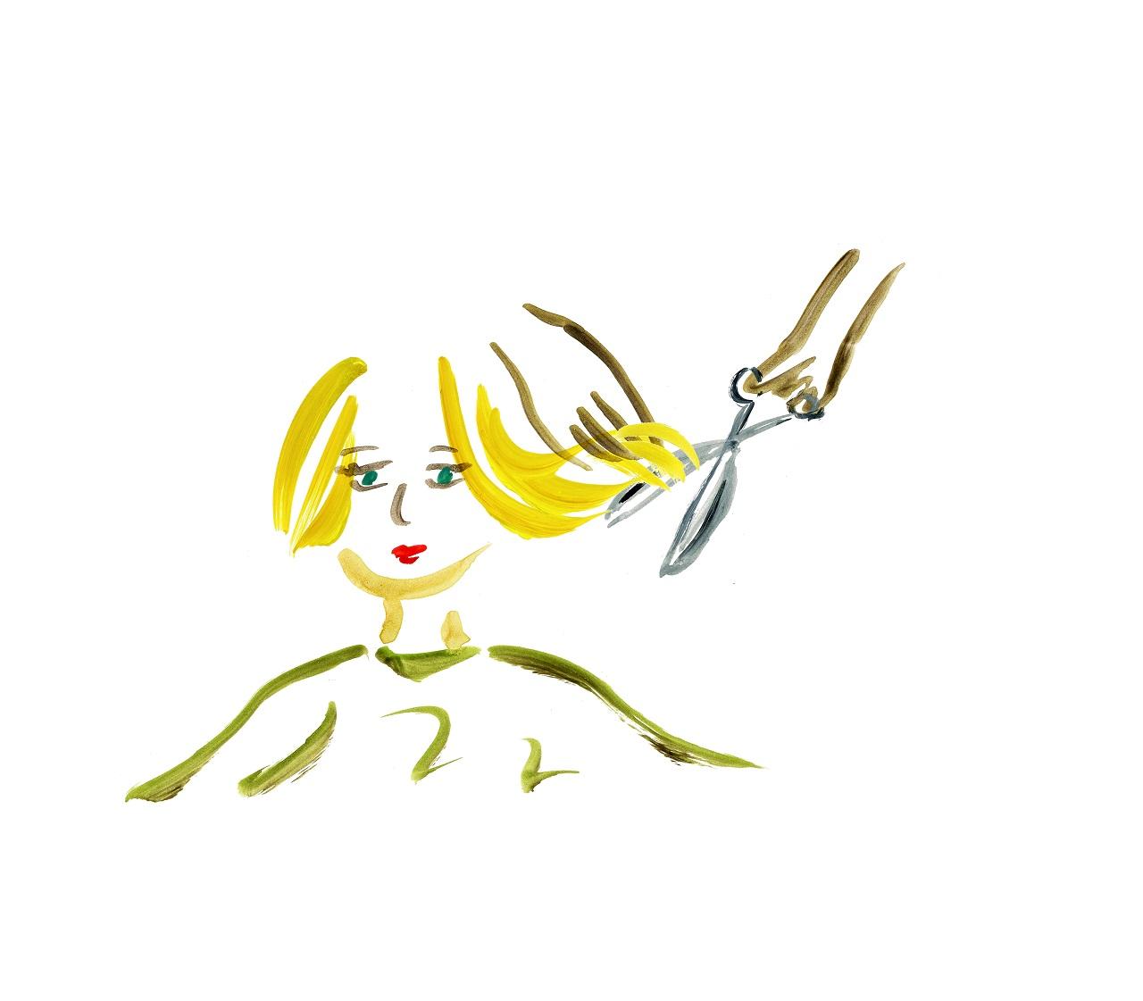 髪を切っている図