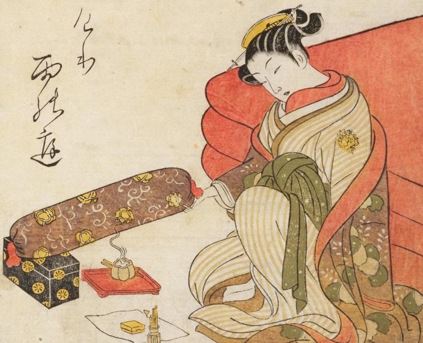 枕に香を焚きしめている様子。『青楼美人合 第4冊』 明和7年(1770) 鈴木春信画(国立国会図書館所蔵)