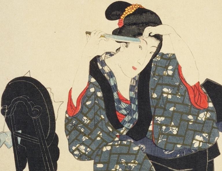 「江戸名所百人美女 芝神明前(部分)」豊国画 安政5年(1858) 国立国会図書館所蔵