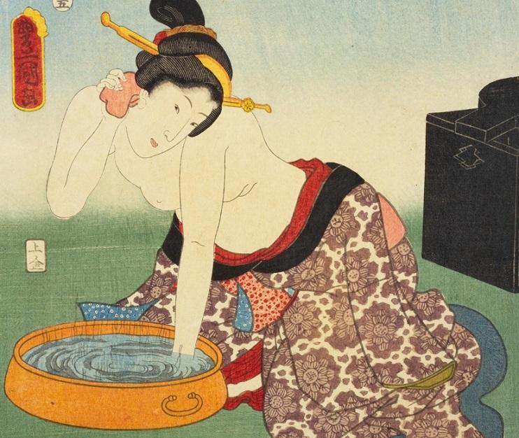 「江戸名所百人美女 御殿山(部分)」豊国画