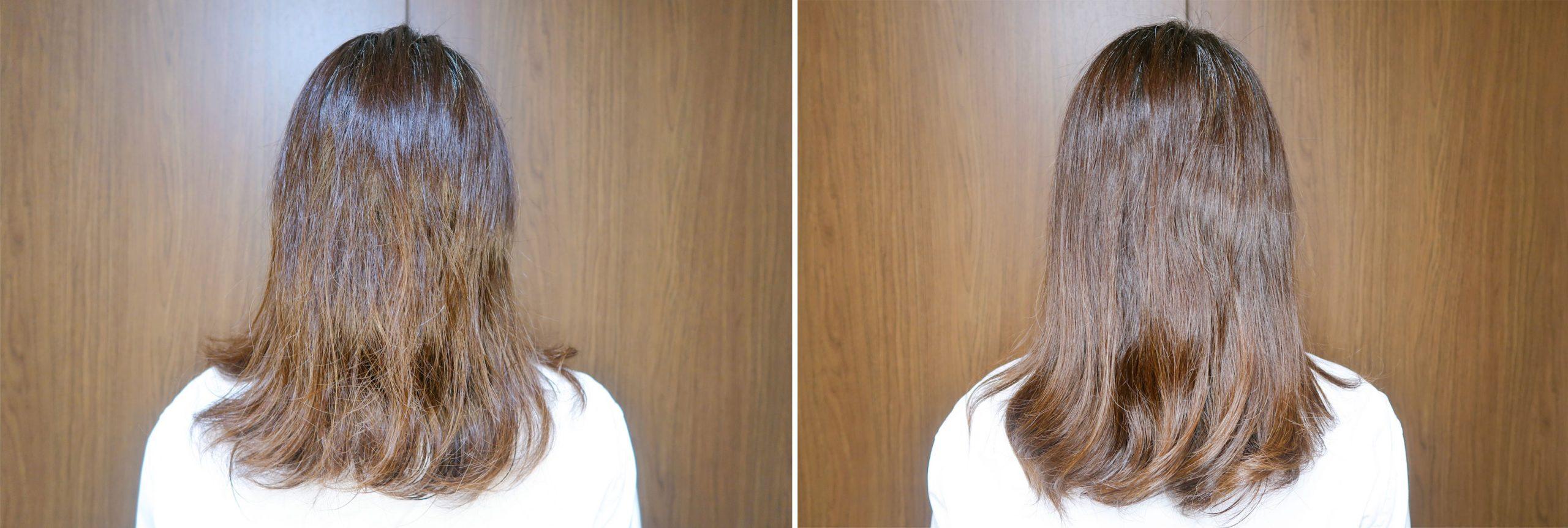 左:オロフルイドなし 右:オロフルイド塗布