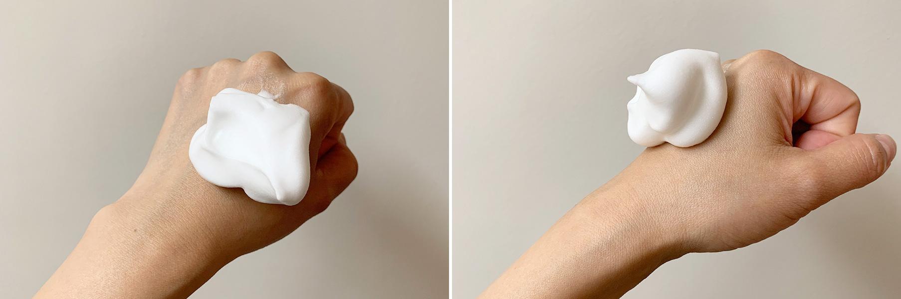 もっちりとした濃密泡が肌を包み込む。