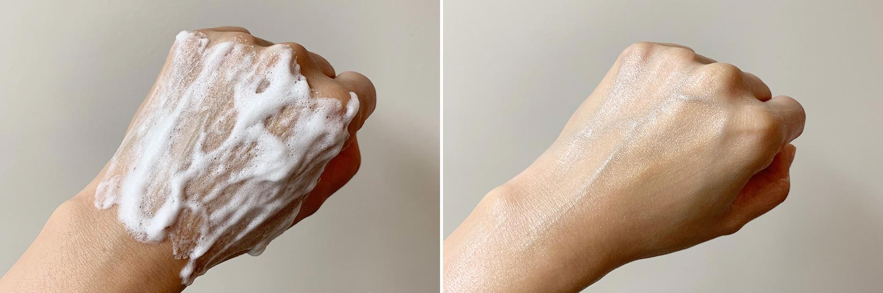 左は塗布後3分。なじませて浸透したあとは右のようなツヤ感が持続します。